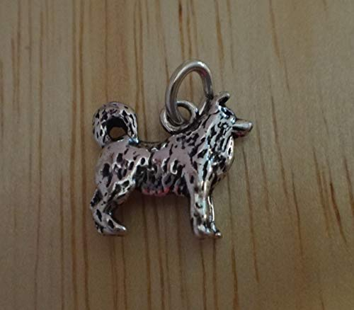 Sterling Silver Small 12x12mm 3D Malamute Akita Husky Dog Charm ()