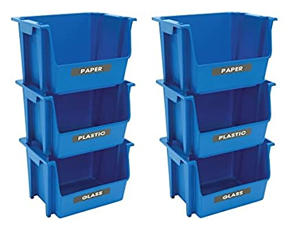 united solutions ecosense sb0120 set of three blue plastic recycling bins 3 stackable bins featuring - Plastic Stackable Bins
