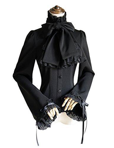 Vintage Shirt Pirate Shirt Gothic Men's Shirt Jabot Set Black Shirt - Jabot Set