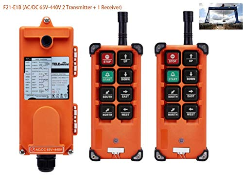 Hoist Crane Wireless remote control Double Transmitters Industrial Channel Lift Radio F21-E1B (AC/DC 65V-440V 2 Transmitter + 1 Receiver)