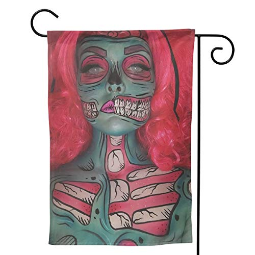 Label Love Zombie Halloween Funny Makeup Big Iarge Jumbo for Party Themed Welcome Outdoor Outside Decorations Ornament Picks Garden Yard Decor Double Sided 28 X 40 Flag ()