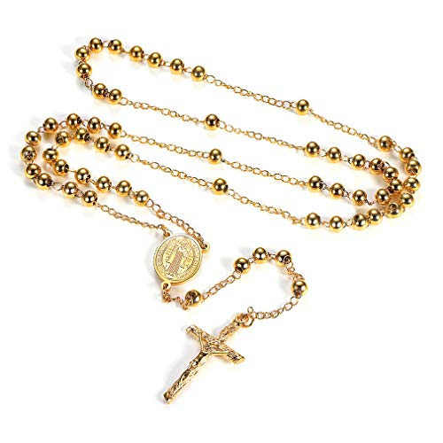 FaithHeart Saint Benedict Rosary Necklace, Holy Soil Medal Cross Crucifix Pendant, 6MM Beads, 28 Inches Chain, 6.7 Inches Pendant (Gold)