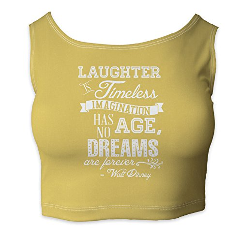 Laughter is Timeless Walt Disney Quote Yellow - 3XL - Ladies Crop Top XS - 3XL