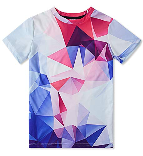 Three-Dimensional Space Graphic Tees Kids t Shirts Diamond Geometry Sports Tops Blouse White Red Tshirt Unfading 6T-8T