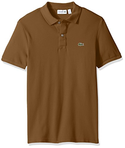 Lacoste Men's Classic Pique Slim Fit Short Sleeve Polo Shirt, PH4012-51, Dark Renaissance Brown, L
