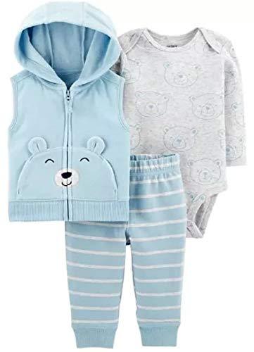 (Carter's Baby Boys' Vest Sets (3 Months, Baby Blue Bear))