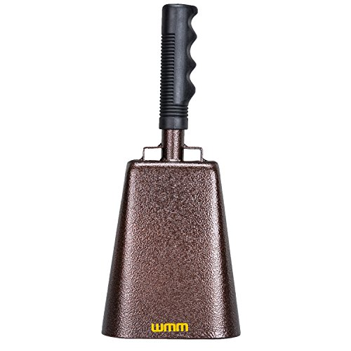 10 Inch Steel Cowbell with Handle Cheering Bell for Sports Events Large Solid School Bells & Chimes Percussion Musical Instruments Call Bell Alarm(Copper)