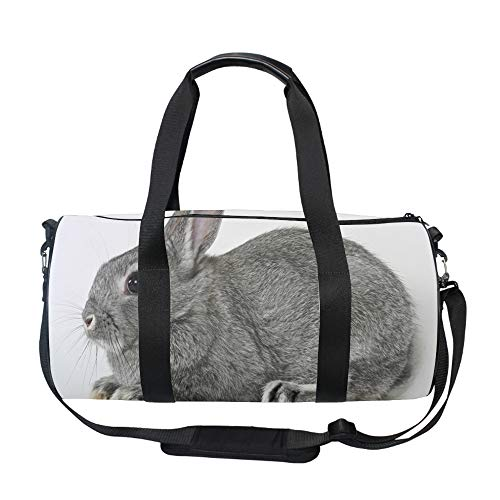 - Gray Rabbit Duffel Style Carry On Sports Travel Bag with Shoulder Strap, Zippered Compartments