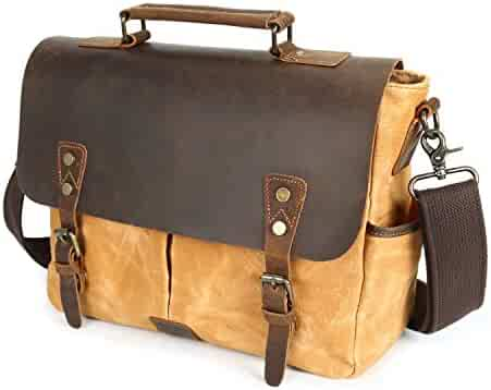 de377959b6 Elegdy Men s Messenger Bag Oil Wax Canvas Bag Waterproof Retro Crazy Leather  Student Shoulder Bag Fashion