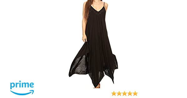 9dd5a318d1a Sakkas Eleonora Stonewashed Embroidered Spaghetti Strap Handkerchief Dress  at Amazon Women s Clothing store