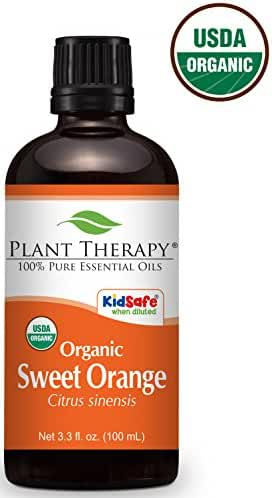 Plant Therapy USDA Certified Organic Orange Sweet Essential Oil, 3.3 Ounce