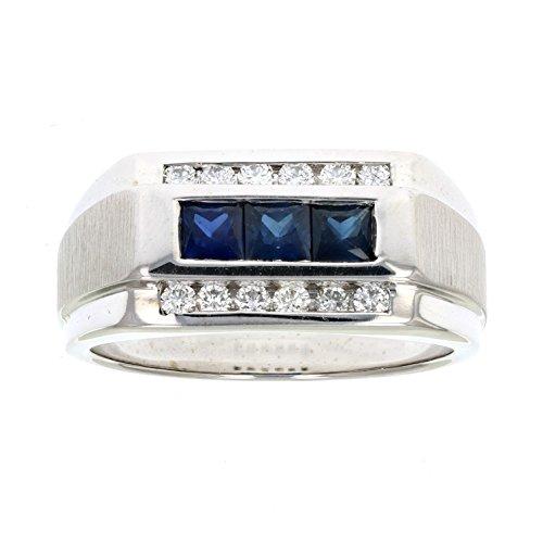 Men's 0.40 CT SI1 18K Gold Blue Sapphire and Diamond Wedding Band ()