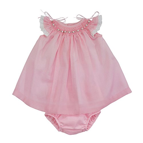 Marakitas Baby & Toddler Girl Spanish Style Handmade Smocked Embroidery Short Sleeve Angel Dress (Light Pink, 12 Months) Infant Smocked Dress