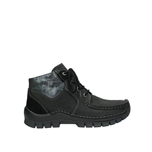 002 Schwarz Nubuckleder 19000 Cross de para Wolky Mujer Zapatos Cordones 11 4735 de Seamy Piel xqCIOE6Tw