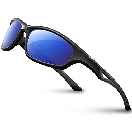 RIVBOS Sports Polarized Sunglasses Driving Glasses Shades for Men Women Tr 90 Flexible Frame for Cycling Baseball Running 842 (Black, Blue Iced Lens)
