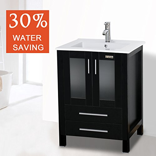 """Eclife 24.5"""" Modern Bathroom Vanity SinkCombo with Overflow Ceramic Sink Top & MDF Stand Bathroom Cabinet & Chrome Solid Grass Faucet and Pop Up Drain Counter Top Basin A8B3-S"""
