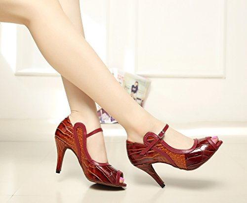Design Latin Jane Mary Shoes Dance Striped Women's Red TDA qXZIq