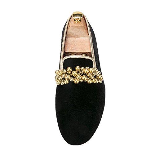 Hi & Hann Kralen Decoratie Handgemaakte Heren Fluwelen Slip-schoenen Platte Schoenen Loafers Roken Slipper Zwart