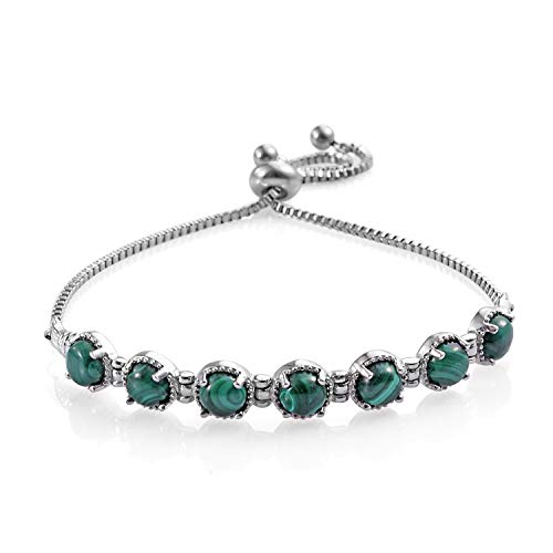 - Bolo Bracelet Round Malachite Stainless Steel Gift Jewelry for Women Adjustable