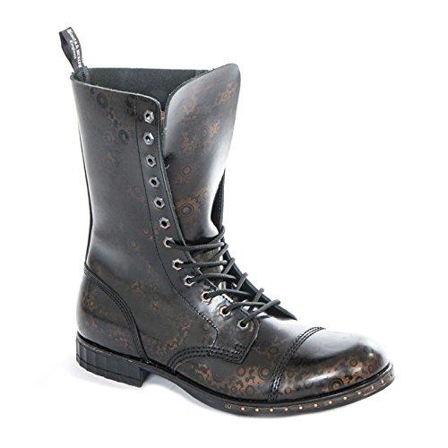 Boots & Braces Women's 12-Loch Steampunk GEAR Boots Schwarz krGi1km