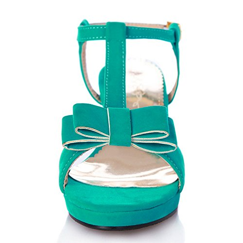 CoolCept Sweet Bowtie Ankle Strap Puppy Heeled Sandals Summer Shoes For Ladies Green Y3upq9m2g