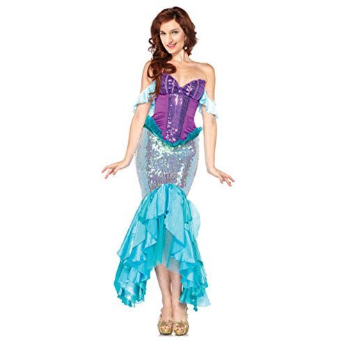 [Charmian Deluxe The Little Mermaid Tails Princess Ariel Adult Halloween Cosplay] (Plus Size Deluxe Bumblebee Costumes)