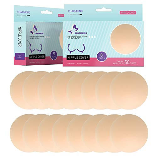 8 Pairs Pasties Womens Reusable Adhesive Nipple Covers Invisible Round Silicone Cover Concealers