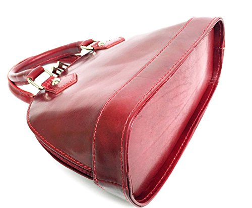Superflybags Italy Borsa Pelle Vera Rosso Modello Tamponato Madrid Made In Mini Bauletto xxqrRgdwv