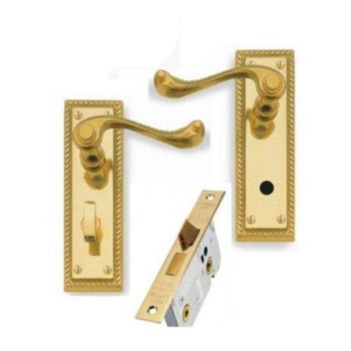 Georgian Brass Lever Bathroom Door Handles + 76mm Bathroom Lock Discount Hardware UK