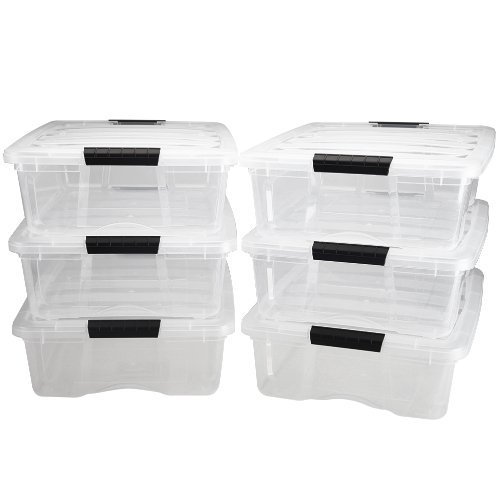 26 Quart Stack & Pull Box, 6 Pack, Clear by ''IRIS USA, Inc.''