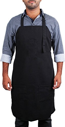 [Adjustable Bib Apron with 3 Pockets - Commercial Restaurant and Home Kitchen Apron - Adjustable Neck Strap - Extra Long Ties - Strong Black - by Utopia Kitchen] (Tie Apron)