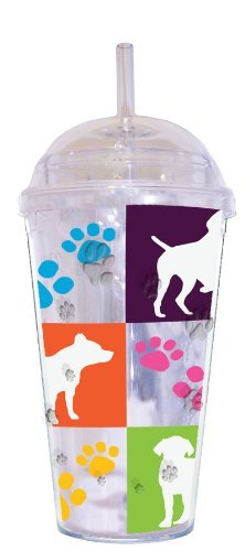 LittleGifts Dogs and Paws 18-Ounce Dome Etched Cup