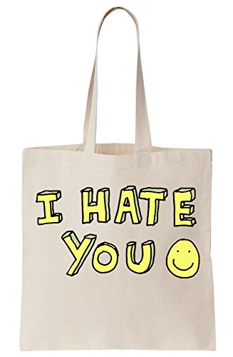 Yellow Canvas You Ironic Bag Hate Tote I Smile SB177q