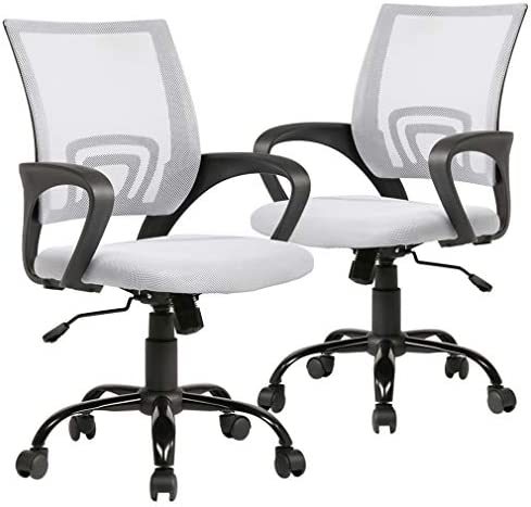 Ergonomic Mesh Computer Office Desk Midback Task Chair w Metal Base Set of 2