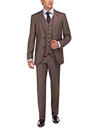 Men's Two Button Tweed 3 Piece Modern Fit Vested Suit