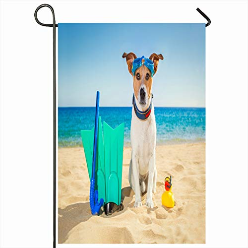 (Ahawoso Seasonal Garden Flag 12x18 Inches Mask Funny Snorkeling Scuba Diving Jack Russell Recreation Dog Dive Sports Pug Underwater Design Pet Home Decorative Outdoor Double Sided House Yard Sign)
