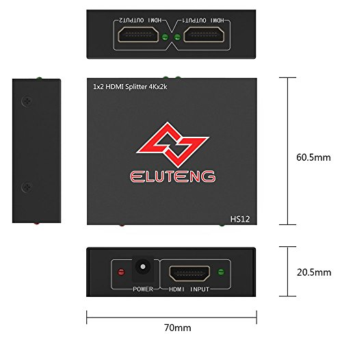ELUTENG 4K HDMI Splitter 1 in 2 Out Ultra HD HDCP HDMI1.4 30HZ Switch 1x2 1080P 3D Compatible for PS4 PS3 Xbox Laptop Projector Amplifier by ELUTENG (Image #6)