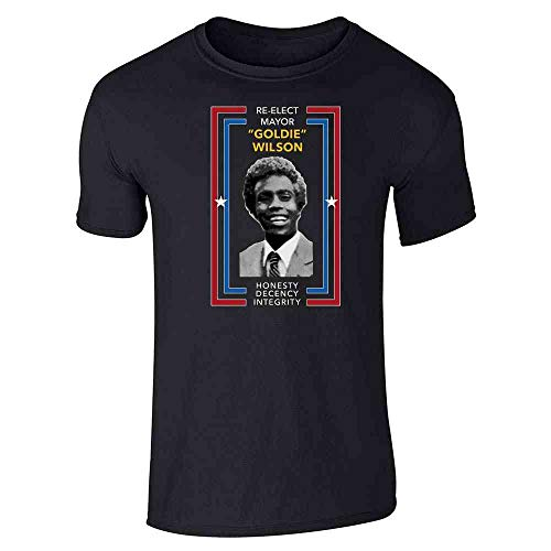 Re-Elect Mayor Goldie Wilson Campaign Black 2XL Short Sleeve ()