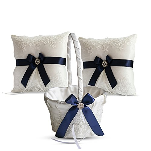 Alex Emotions Ivory Ring Bearer Pillow and Basket Set | Lace Collection | Flower Girl & Welcome Basket for Guest | Handmade Wedding Baskets & Pillows (Navy Blue) ()