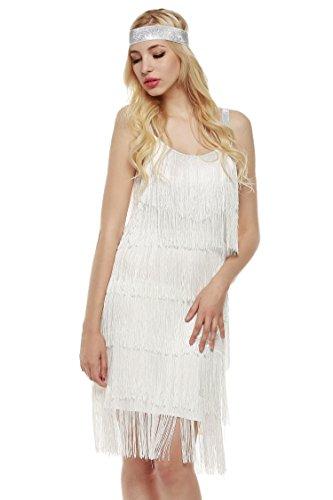 Renflements Femmes Bretelles Pompons Robe De Danse Latine Sans Manches Robe De Soirée Glam Blanc