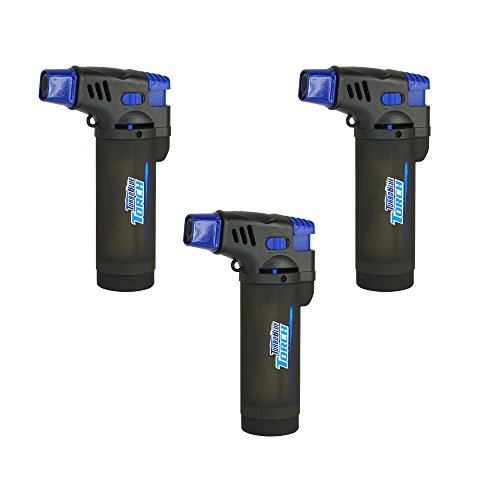 3 Pack Turbo Blue XXL Jet Flame Refillable Torch Lighter with Powerful Windproof Flame