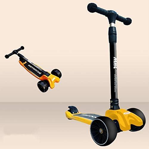 3 In 1 Kick Scooter Hoogte Verstelbaar Kid Scooters Met PU Led Knippert Wielen, For 2-10 Jaar Oude Kinderen Kickboard (Color : Yellow)
