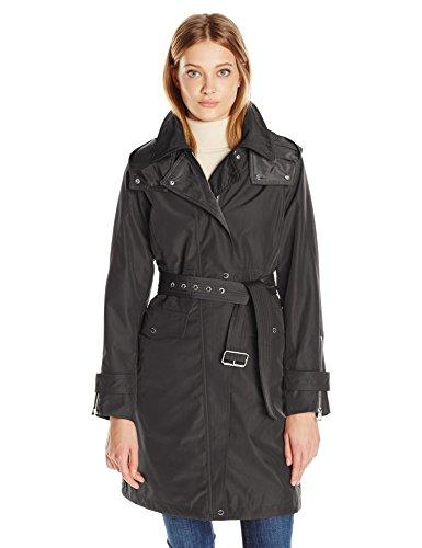 - Vince Camuto Women's Belted Hooded Rain, Black, Medium