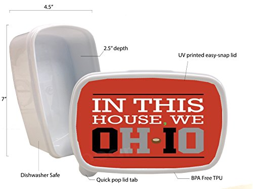 - Ohio State Buckeyes O-H-I-O In this House Printed White Plastic Lunch Box Food Dry Storage Container Stash