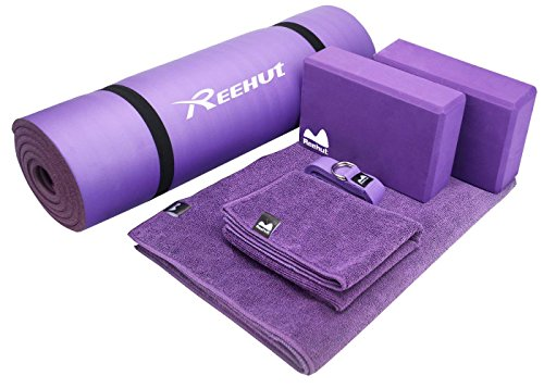 REEHUT Yoga Starter Kit 6-Piece Set - Includes 1/2' Thick NBR Exercise Mat, 2 Yoga Foam Blocks, 1 Hot Yoga Mat Towel, 1 Yoga Hand Towel & 1 Yoga Strap (Purple)