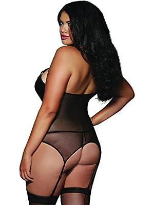 Dreamgirl Women's Plus Size Faux Leather Bustier Set