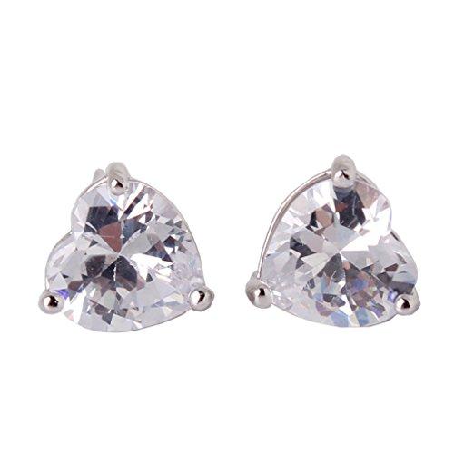 GULICX Lovely heart White Silver Platd Base Simulated Diamond Crystal Bling Women Girl Stud Earrings