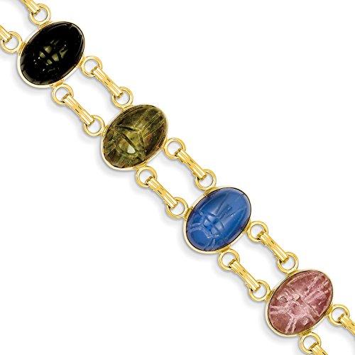Diamond2Deal 14k 7 Stone Scarab Bracelet
