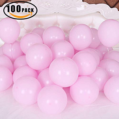 (100 Pack 10 Inch Thicken Light Pink Balloons,Large Macaron Pink Latex Helium Balloons for Birthday Wedding Reception Engagement Bridal Shower Party Decorations)
