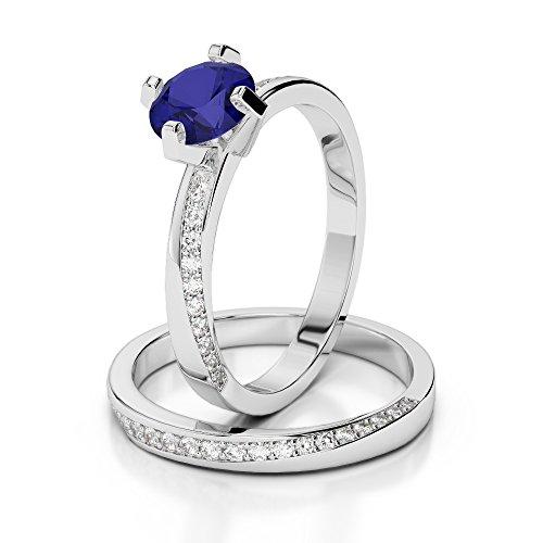 G-H/VS 1CT Coupe ronde sertie de diamants Saphir et diamants blancs et bague de fiançailles en platine 950Agdr-2001